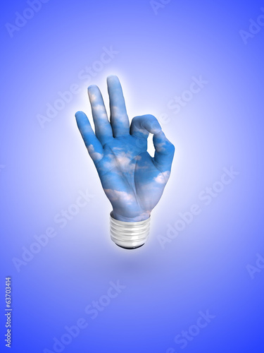 3D lightbulb - hand OK with sky. Concept - eco energy.