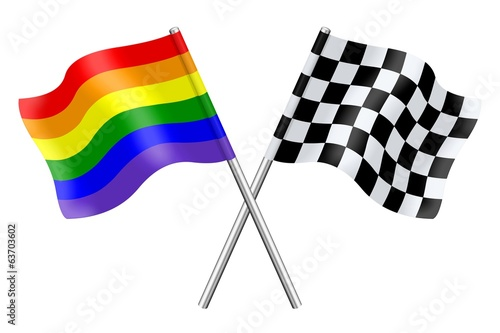 Flags : rainbow and checkerboard