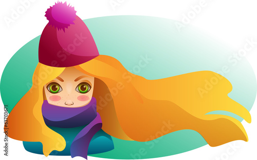 Portrait of Beutiful girl in winter hat and scarf