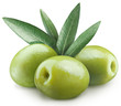 Three green olives. File contains clipping paths.