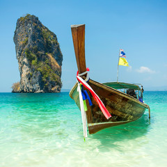 Longtail boat at the tropical beach of Poda island, Andaman sea,