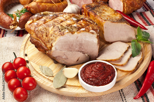 Different types of home-made pork.
