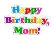 """HAPPY BIRTHDAY MOM"" Card (party message congratulations mother)"