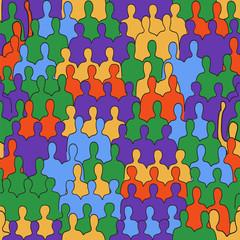 Vector Seamless Pattern: People