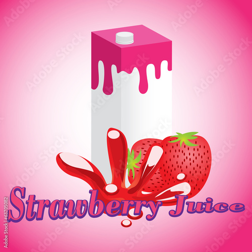 Strawberry Juice cartons with screw cap