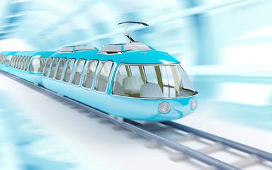 blue cartoon futuristic train
