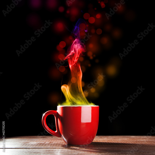 Cup of coffe with a colored steam