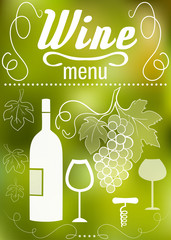 Wine, grape,  wine glass and swirls on blurred background