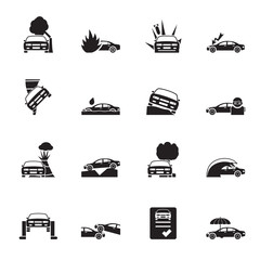 Silhouette car and transportation insurance and risk icons