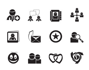 Silhouette Internet Community and Social Network Icons