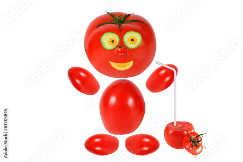 Healthy eating. Funny little tomato  keeps tomato juice
