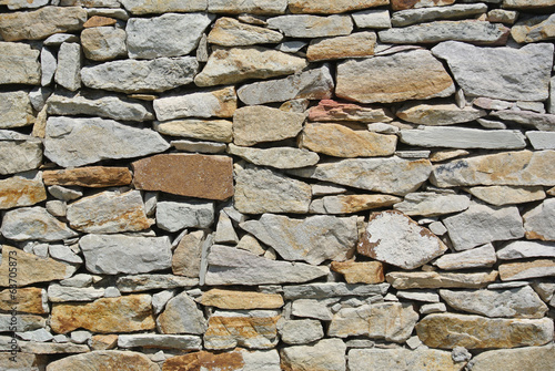 Piled rocks on a wall