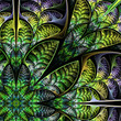 Diagonal symmetric pattern of the leaves in green. Collection -