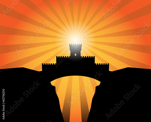 Castle abstract background, vector illustration