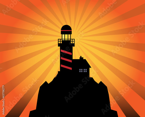 Lighthouse silhouette on abstract background, vector