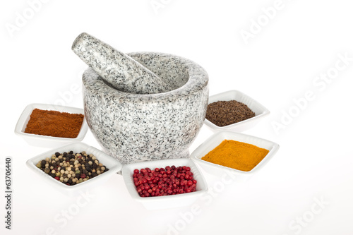 Mortar, Pestle, and Spices