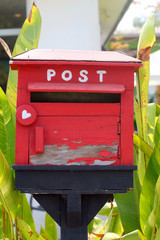 Mailbox made of wood, vintage style.