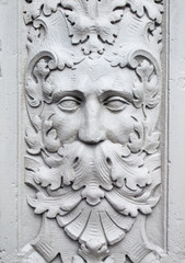 Detail of stone carving of a green man