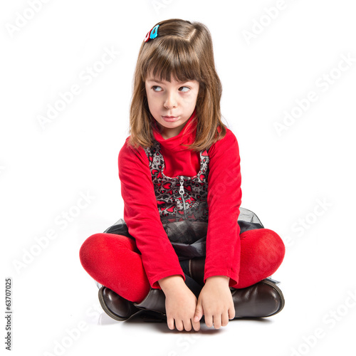 Sad Child isolated over white background