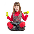 Young girl doing weightlifting over white background