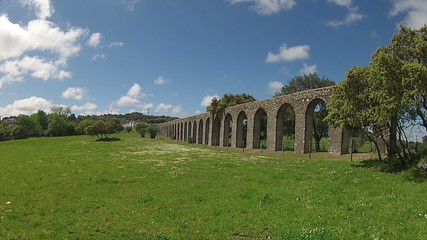 Timelapse Aqueduct of Silver Water in Évora, Portugal