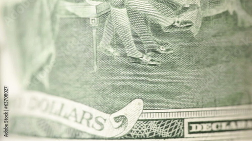 Two dollar bills, close up, rotate. Macro.