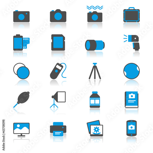 photography flat with reflection icons
