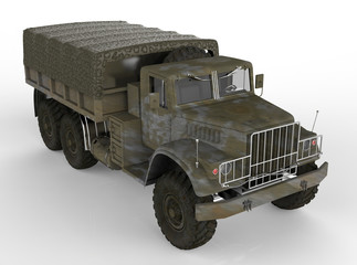Military Truck Isolated on White
