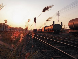 Railroad in evening