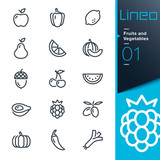 Fototapety Lineo - Fruits and Vegetables outline icons