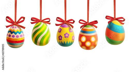 Colorful Easter Eggs with ribbons