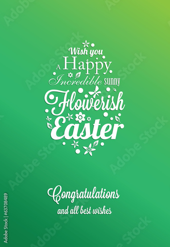 Easter greeting card with typographic design