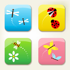 bugs icon set, bee, dragonfly, butterfly, coccinelle, ladybug