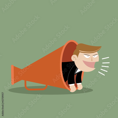 Vector illustration of business man with megaphone