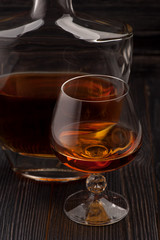Glass and bottle of Cognac brandy