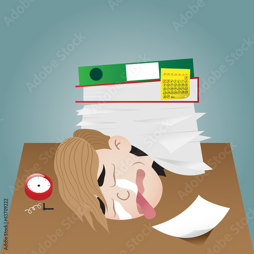 Vector illustration of businessman working burnout