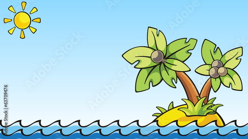 cartoon animation with palm island - loopable