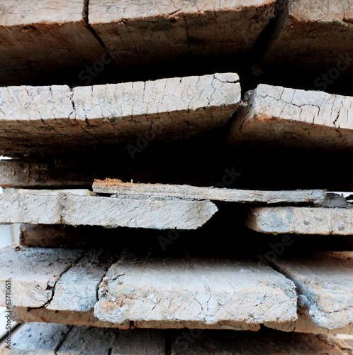Used construction wood planks