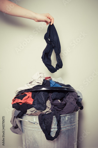 Woman sorting out her laundry