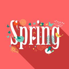Spring text design concept card