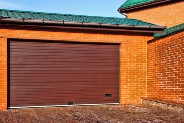 Automatic Garage Gate and Single Red House with brick wall, XXXL