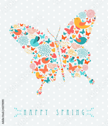 Happy Spring colorful butterfly concept