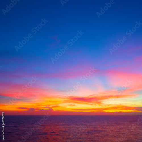 beautiful sunset in the tropical sea at summer time