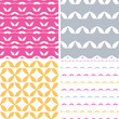 Four bstract leaf shapes geometric patterns backgrounds