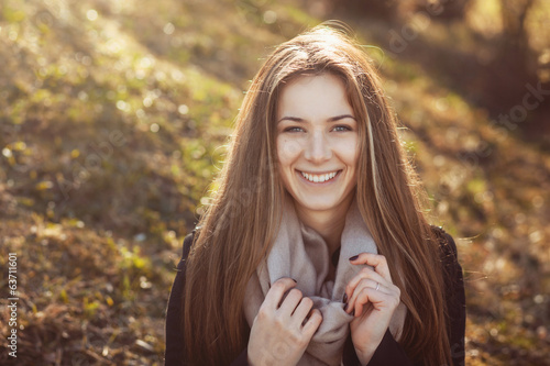 beautiful happy smiling woman in spring