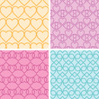 Four matching heart motives seamless patterns background set