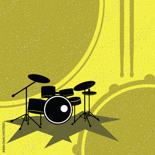 drum set on the retro style vector