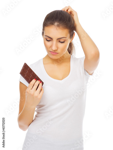Young healthy girl with chocolate