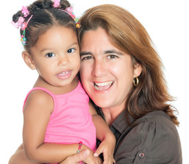 Portrait of a mother carrying her small multiracial daughter