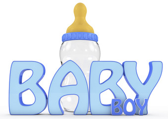 A Colourful 3d Rendered Baby Boy Text